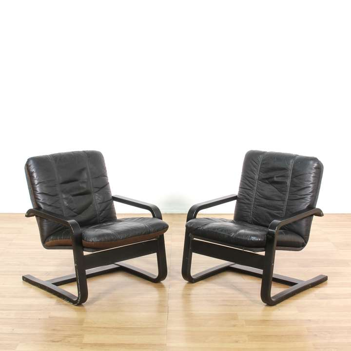 Pair Of Retro Burnt Orange Amp Chrome Accent Chairs