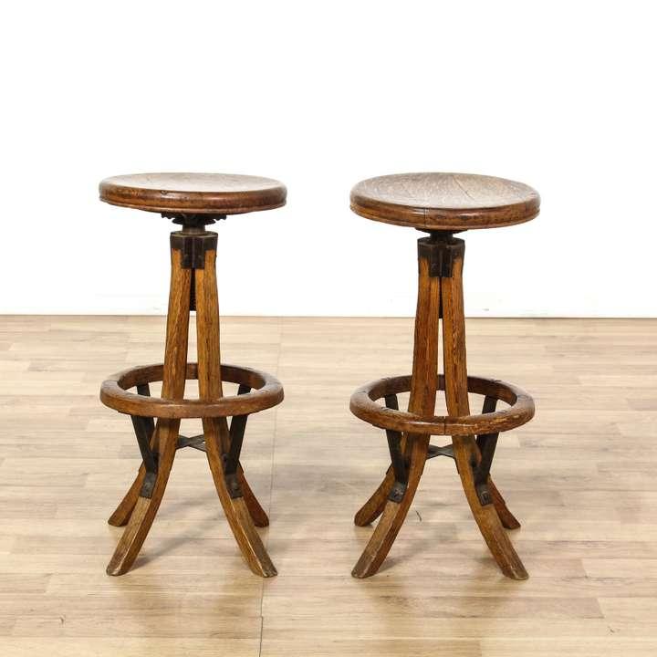 3 Upholstered Iron Barstools Loveseat Vintage Furniture