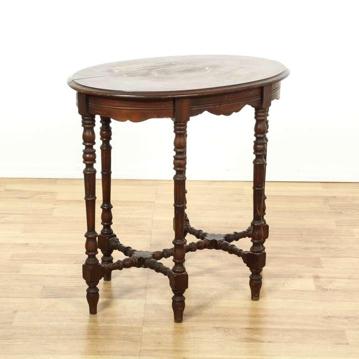 round small pedestal end table 2 loveseat vintage. Black Bedroom Furniture Sets. Home Design Ideas