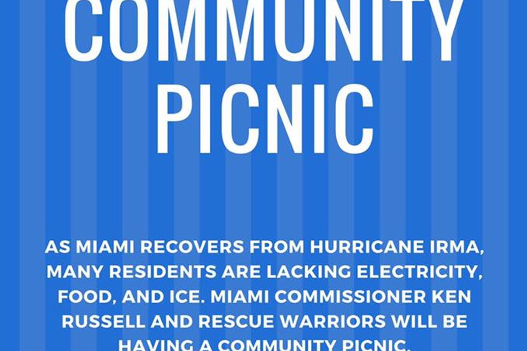 Community Picnic in Coconut Grove  4pm today, at city hall near the new Regatta park.