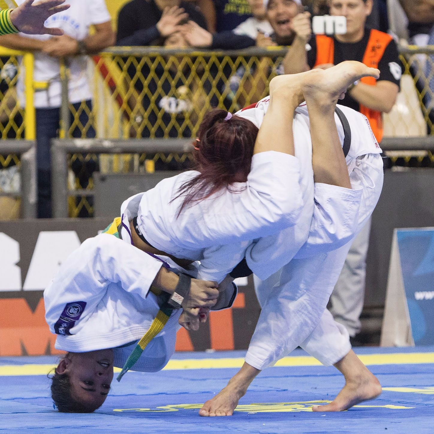 The young Bia Mesquita is already a 7-time World Jiu-Jitsu IBJJF Championship champion (two of these titles being in the open weight division). She has a vast record of majors gold medals such as in the Pan, No Gi Worlds, Euro, and Brazilian Nationals, and is in this photo arm barring her opponent to conquer the 2016 Rio Open.