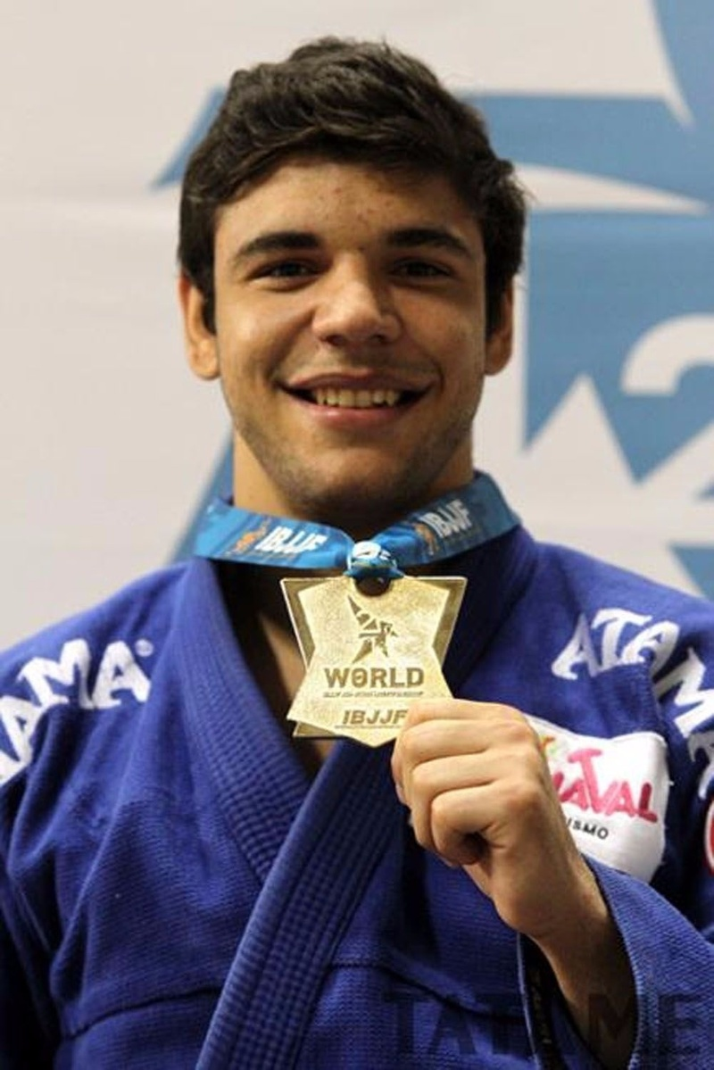 João Gabriel celebrates his gold at BJJ Worlds 2012