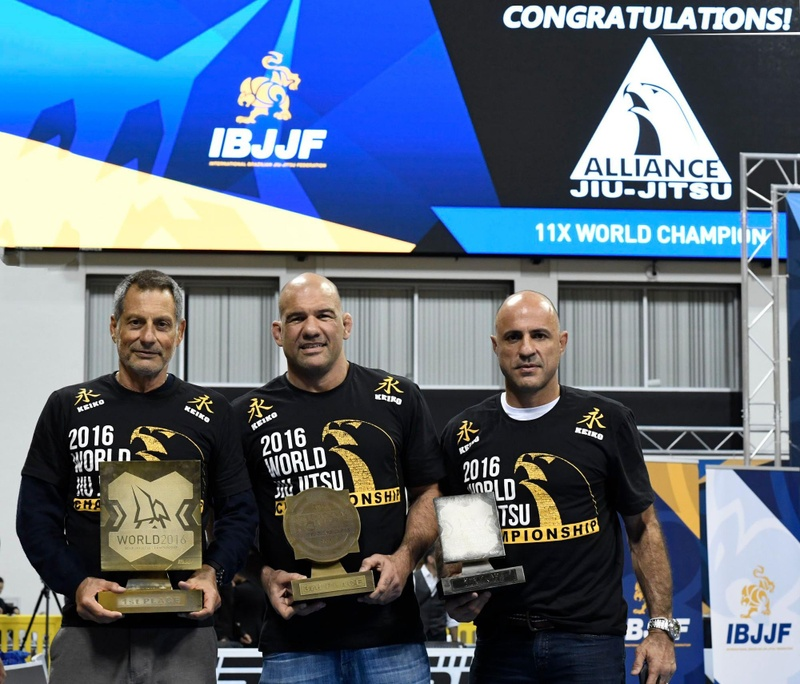 Romero Jacare, Fabio Gurgel and Alexandre Paiva holding the 11th Brazilian Jiu-Jitsu World Title conquered by Alliance