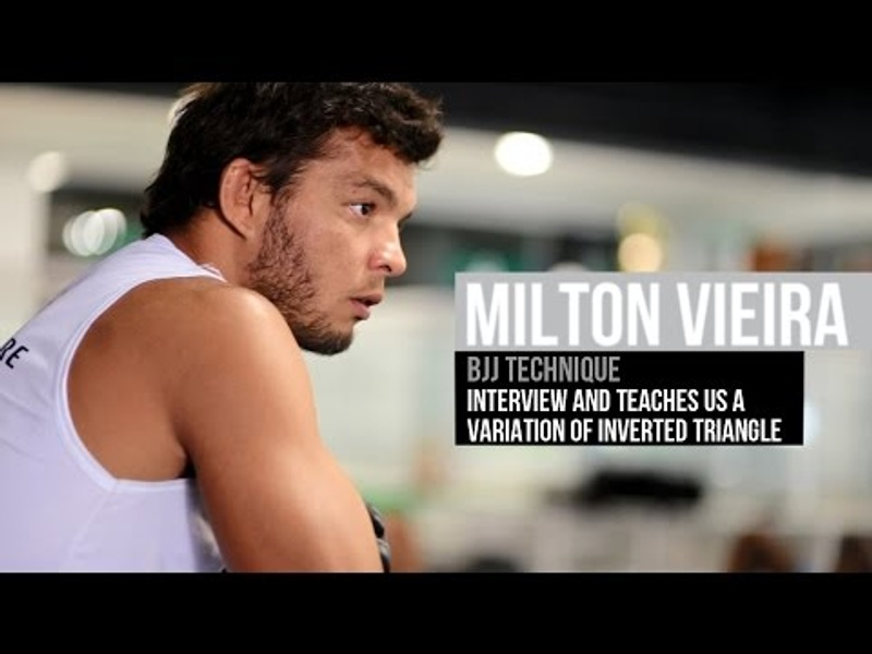 Miltinho Vieira advises newcomers and teaches a variation on the inverted triangle