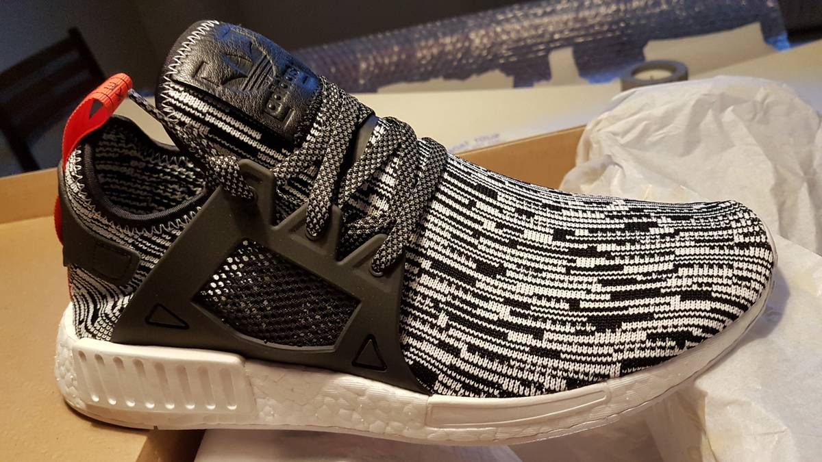 adidas NMD Xr1 PK Glitch Camo White Boost Black Grey Primeknit