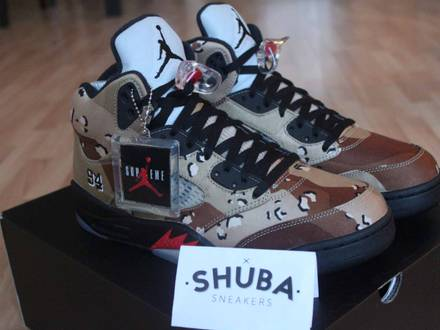 Nike <strong>Air</strong> <strong>Jordan</strong> 5 <strong>x</strong> <strong>Supreme</strong> <strong>Desert</strong> <strong>Camo</strong> US 10.5 DS 44.5 UK 9.5 V 824371-201 DS NEW - photo 1/6