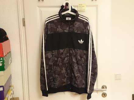 Adidas x BAPE Firebird Track Jacket; XL; Grey - photo 1/3