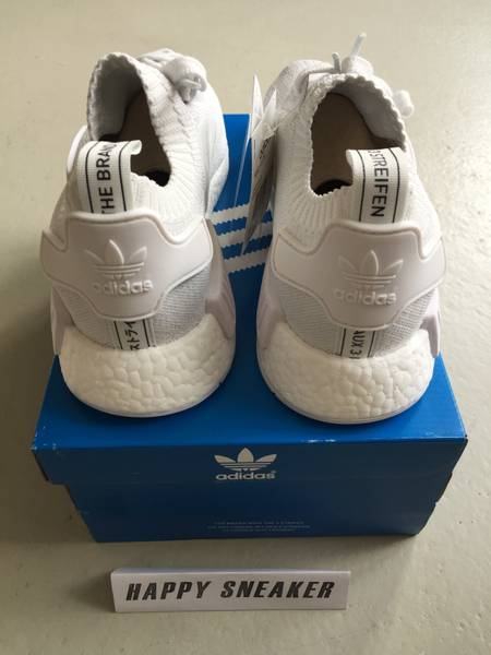 qgdtod ADIDAS NMD R1 PK NOMAD RUNNER PRIMEKNIT ALL WHITE - NEW - MINT