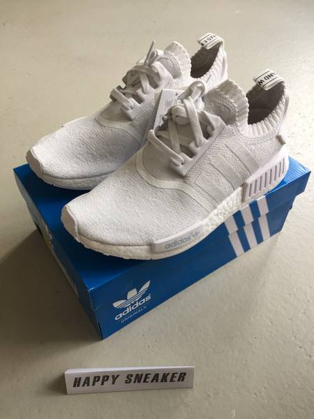 bjypnp ADIDAS NMD R1 PK NOMAD RUNNER PRIMEKNIT ALL WHITE - NEW - MINT