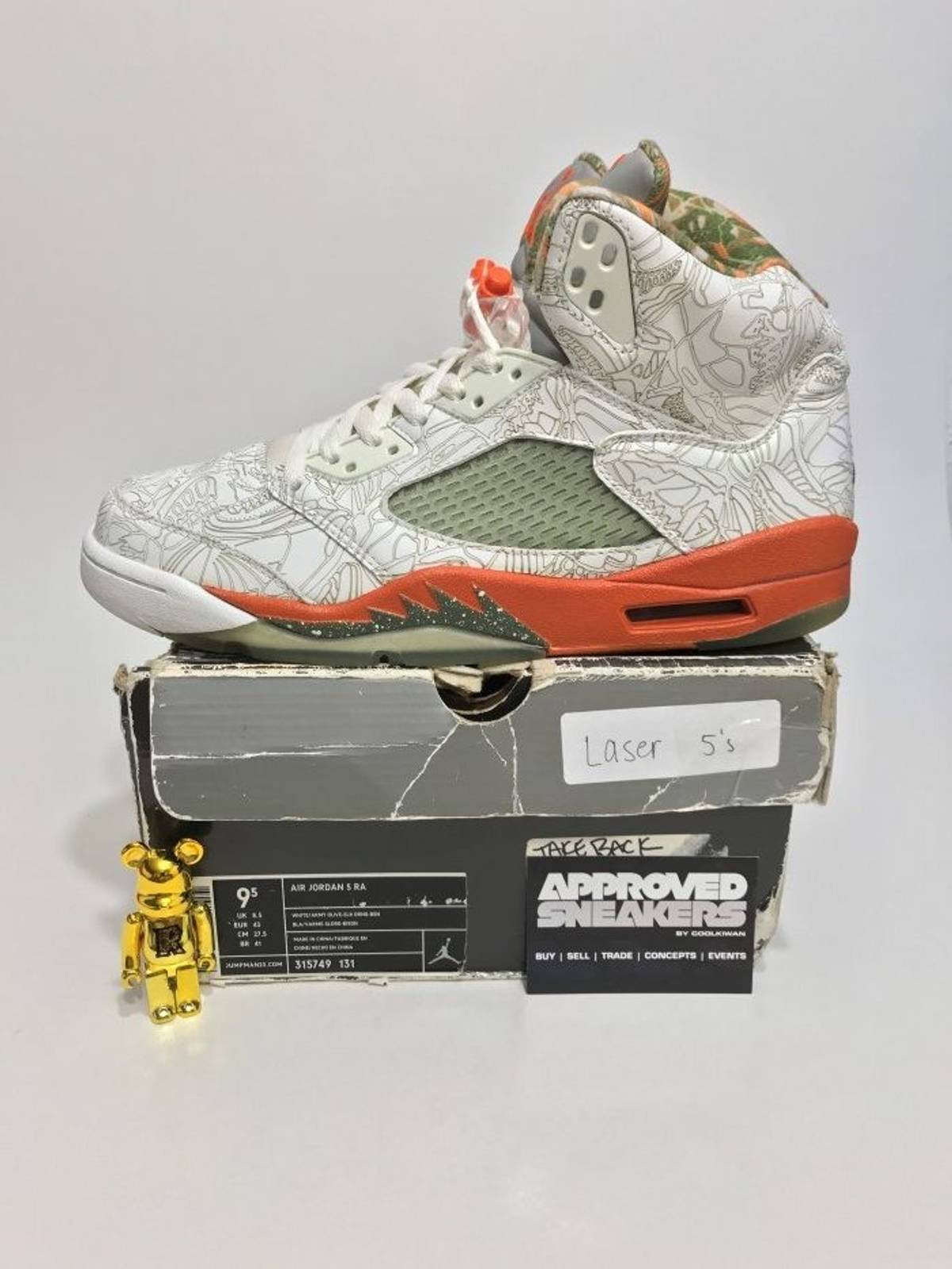 buy online 95955 2043c ... Nike Air Jordan 5 Retro RA Laser Orange 315749 131 US9.5 43 bred black  ...