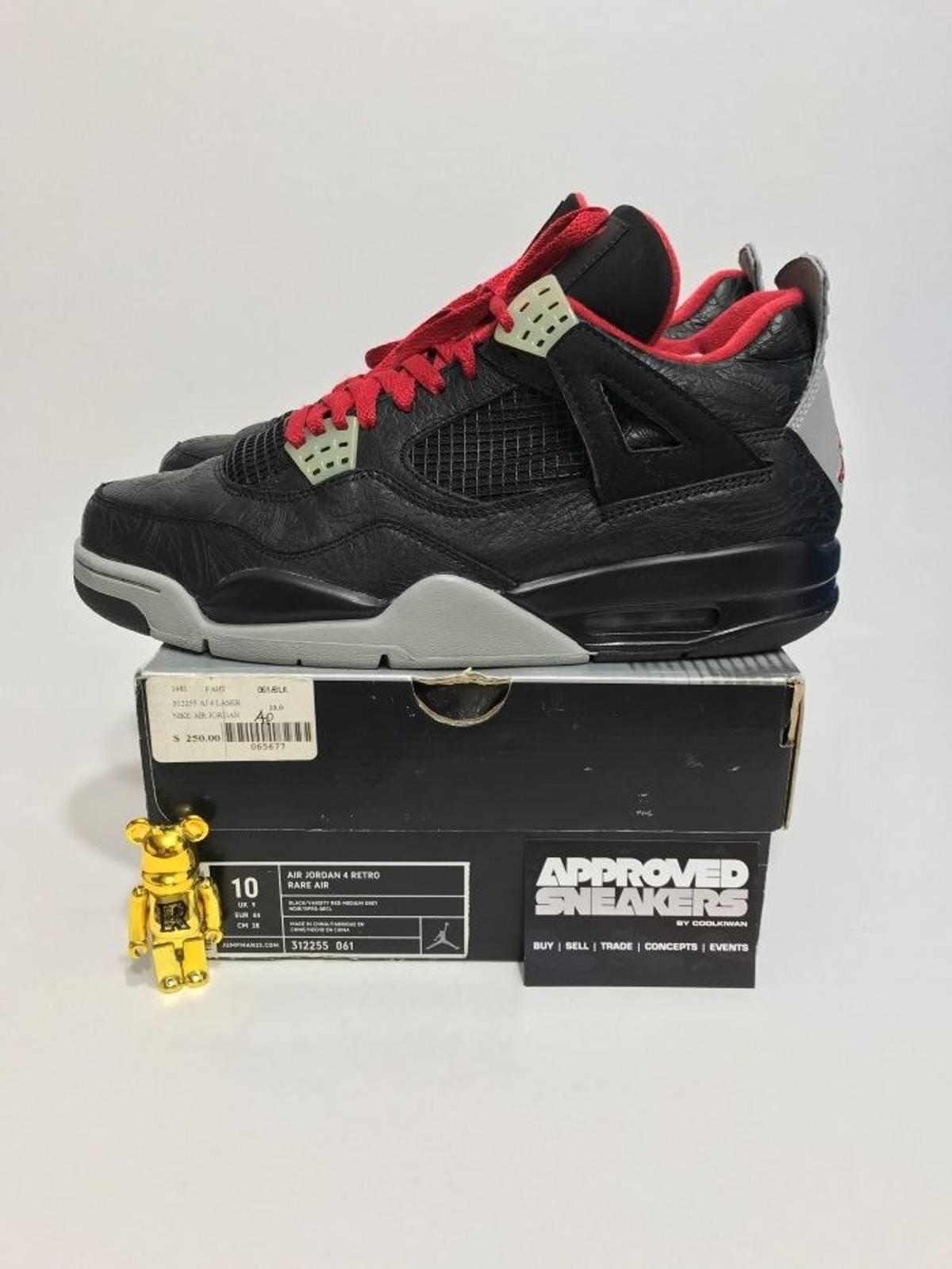nike air jordan 4 retro ra rare air black laser 312255 061 us10 44 bred black