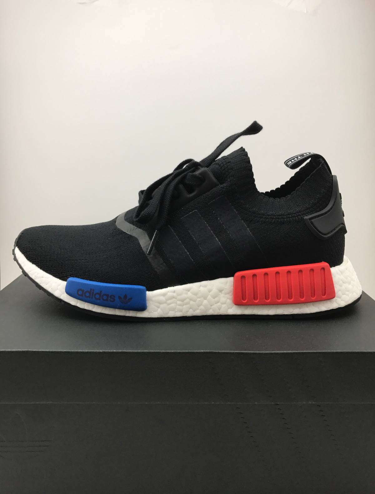 100 Authentic adidas NMD R1 PK Primeknit Black Gum By1887 Men's
