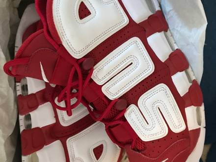 Nike <strong>Supreme</strong> <strong>Uptempo</strong> Suptempo Red White Rot Weiß 42,5 / US 9 - photo 1/6
