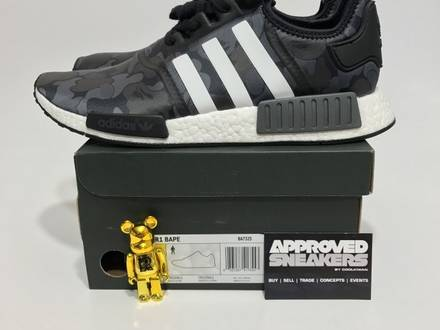 Adidas NMD R1 Bape Black BA7325 US9.5 43.33 UK9.5 Green EQT Boost 350 750 Yeezy - photo 1/5