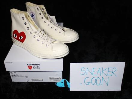 DEADSTOCK <strong>COMME</strong> <strong>DES</strong> <strong>GARCONS</strong> PLAY X CONVERSE CHUCK TAYLOR 1970S HI UK10/US10 - photo 1/5