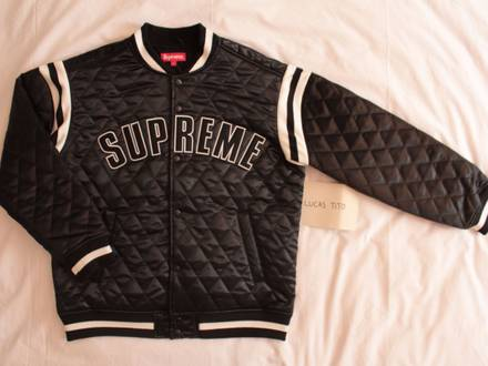 🔥 Supreme Quilted Satin Varsity Jacket - photo 1/5