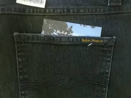 NUDIE JEANS LEAN DEAN DEEP BLACK WORN ( NEW ) - photo 1/6