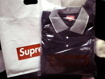 Supreme Striped Collar Terry Polo Negro Black Medium Nuevo Edicion Limitada - photo 1/5