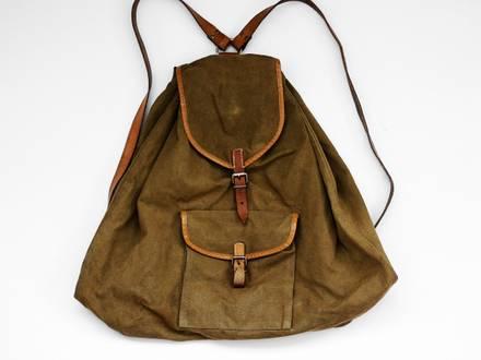 Vintage Romanian Army backpack rucksack knapsack canvas olive khaki urban hipster 60s 70s - photo 1/5