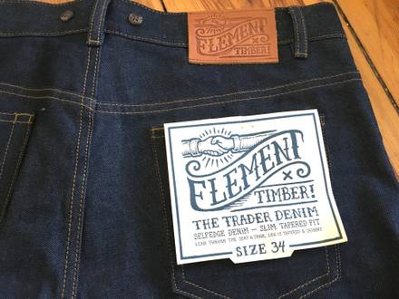 "New w/ tags: ELEMENT x TIMBER! ""The Trader"" Jeans Pants - Size W34 L32 34 32, indigo blue raw denim - photo 1/5"