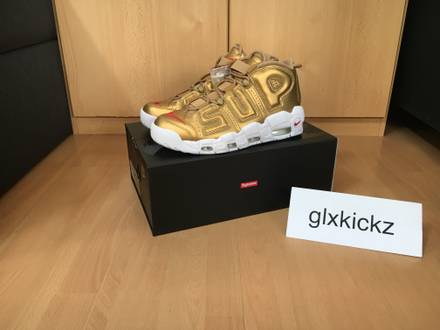 Nike Air More <strong>Uptempo</strong> x <strong>Supreme</strong> Metallic Gold US 9.5 - photo 1/5
