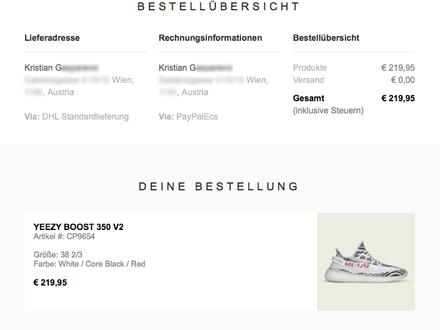 Adidas YEEZY BOOST 350 v2 'Zebra' US6 Confirmed Order - photo 1/5