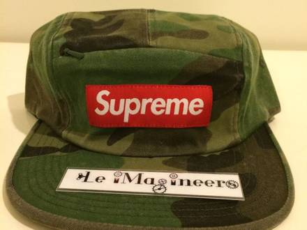 SUPREME-FRONT-PANEL-ZIP-CAMP-HAT-WOODLOAND-CAMO-SS17-BRAND-NEW - photo 1/5