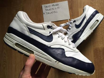 Nike Air Max 1 Leather White Midnight Navy 2003 - photo 1/6