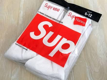 SUPREME HANES SOCKS WHITE - photo 1/5