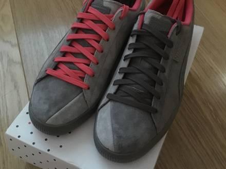 Men's puma x staple Clyde NTRVL in pigeon colour way (dark grey, light grey, pink). - photo 1/5