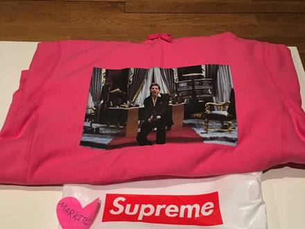 supreme scarface friend hooded sweetshirt magenta - photo 1/5