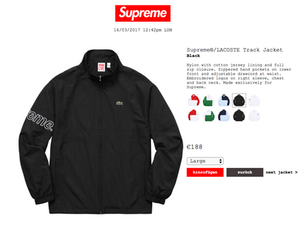 Supreme x lacoste track jacket black size small ss17 - photo 1/5