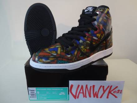 <strong>SB</strong> Dunk high CNCPT Stained Glas Holey Grale US9 EU42,5 - photo 1/6