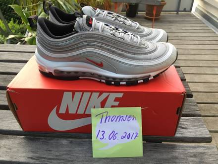 Nike <strong>Air</strong> <strong>Max</strong> <strong>97</strong> OG QS (Metallic <strong>Silver</strong>/ Varsity Red) - US 9.5/ UK 8.5/ EUR 43 - photo 1/7