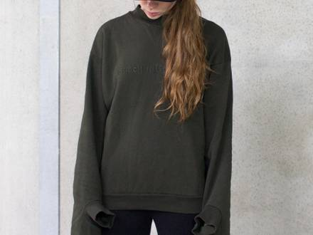 Olive Green Double Cuff Oversized Crewneck - Size S - photo 1/5
