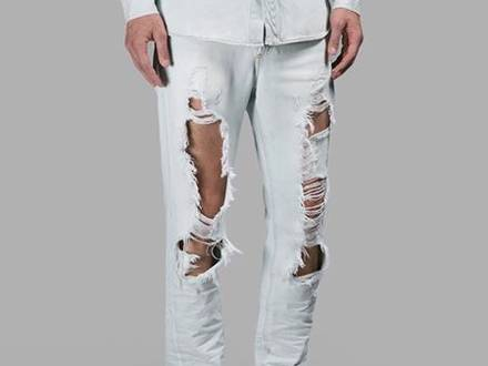 Off White SLIM FIT 5-POCKET RIPPED JEANS R - photo 1/8