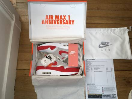 NIKE AIR MAX 1 OG RED ANNIVERSARY 2017 NEW IN BOX SIZE EUR43-9,5US-8,5UK - photo 1/8