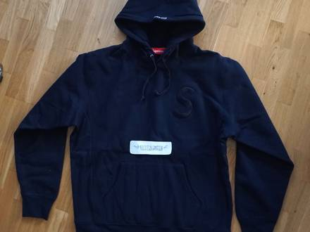 Supreme S Logo Hooded Sweatshirt Navy Size L - photo 1/5
