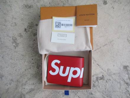 SUPREME X LOUIS VUITTON RED LEATHER WALLET - photo 1/8