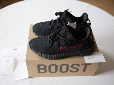 Adidas Yeezy Boost 350 v2 Black Red Bred US 7.5 - photo 1/6