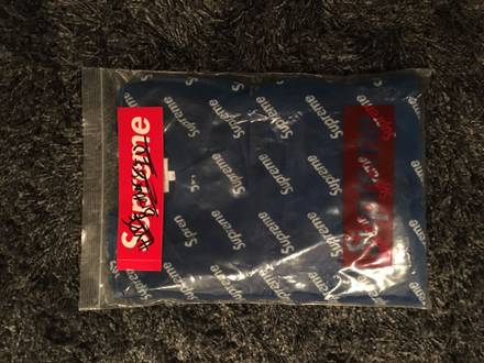 Supreme Velour Diagonal Logo L/S Top Royal Medium - photo 1/5