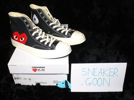 <strong>COMME</strong> <strong>DES</strong> <strong>GARCONS</strong> PLAY X CONVERSE CHUCK TAYLOR 1970S HI DEADSTOCK UK9/US9 - photo 1/5