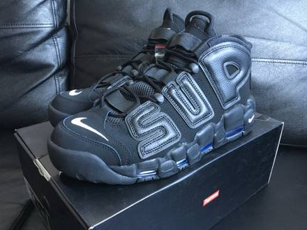 Nike X <strong>Supreme</strong> <strong>UPTEMPO</strong> /suptempo SIZE:US7.5 & 11.5 EU40.5 45.5 | UK:6.5 & 10.5 red black gold - photo 1/8