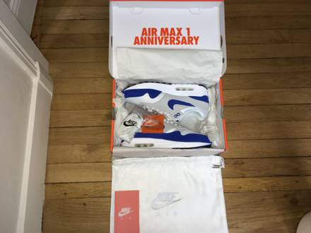NIKE AIR MAX 1 OG BLUE ANNIVERSARY 2017 NEW IN BOX SIZE EUR43-9,5US-8,5UK - photo 1/8