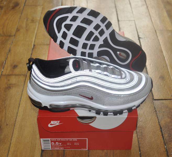 60ce82f4 Nike Air Max 97 OG QS GS Silver Bullet Size 5.5 Us 5 Uk 38 Eu ...