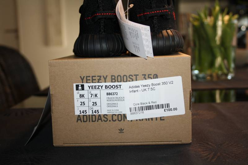 ADIDAS YEEZY BOOST 350 V2 CORE BLACK RED BB6372 INFANT