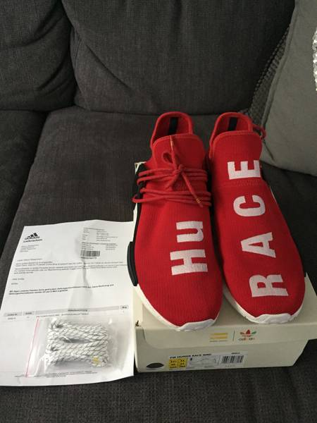 "Pharrell x adidas NMD HU ""Noble Crimson Sneaker Bar Detroit"