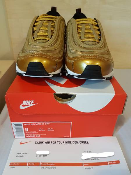 ... Nike Air Max 97 CR7 Gold Patchwork Cristiano Ronaldo AQ0655-700 size  UK8 US9 ... 0f951064a00