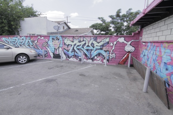 Parking Lot and Alley with Graffiti walls.