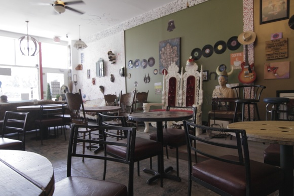 One of a kind coffee shop. 1 Floor. 2 Restrooms. The details in the cafe were carefully handcrafted, everything is made out of recycled goods. Closedown is allowed for $3000 a day. 